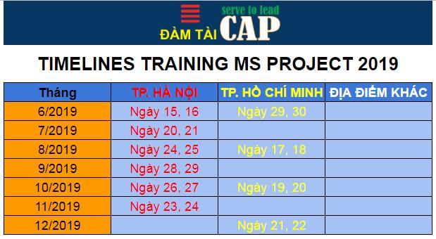 Lịch đào tạo MS Project cuối năm 2019
