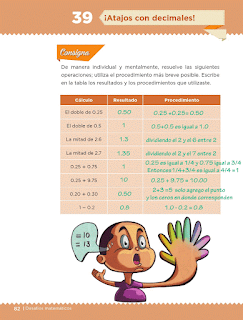 Respuestas Apoyo Primaria Desafíos Matemáticos 5to. Grado Bloque III Lección 39 ¡Atajos con decimales!