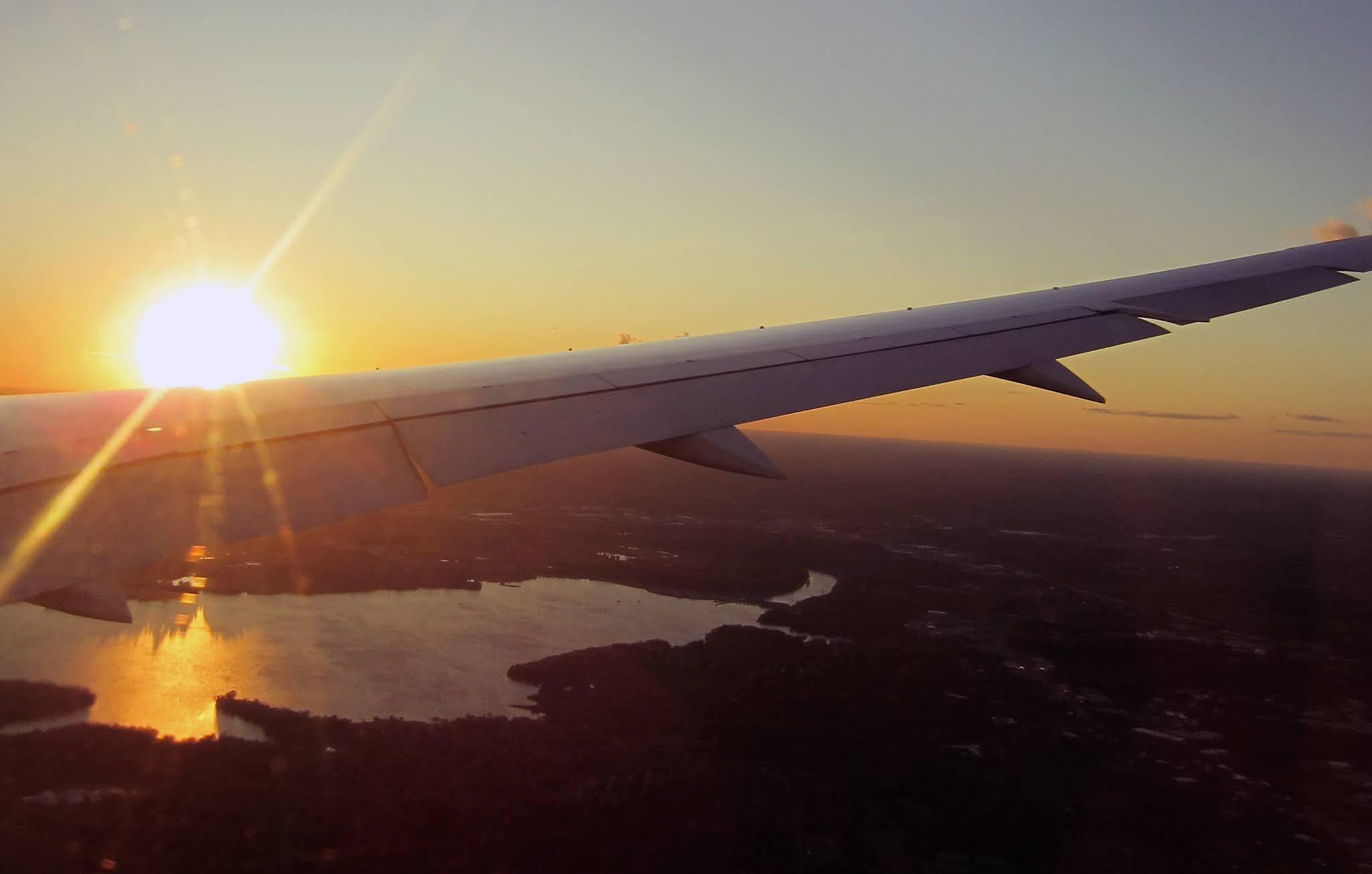 Sunset over Nashville on an aeroplane