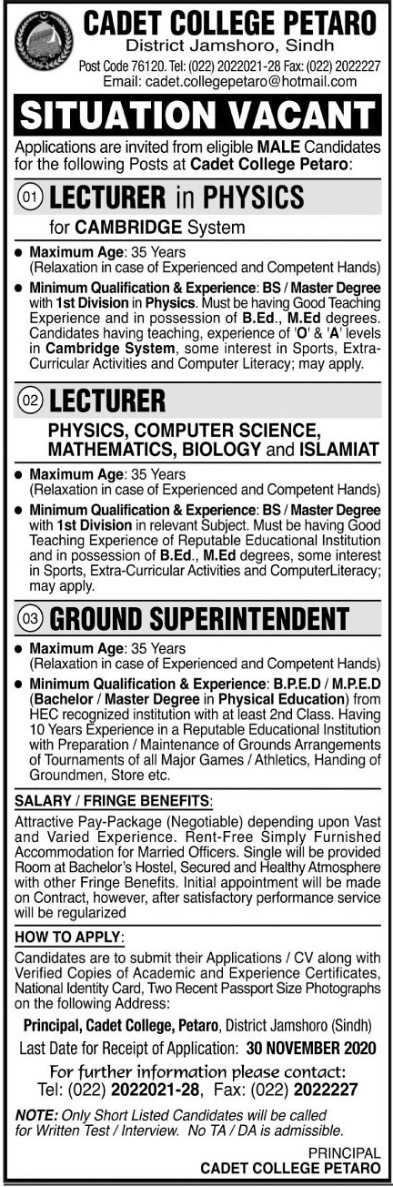 Pakistan Army Cadet College Petaro Nov 2020 Jobs in Pakistan For Male and Female Jobs 2020