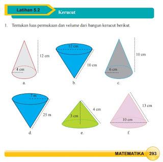 Jawaban Buku Paket Matematika Latihan 5.2 Kerucut Halaman 3293 294 295 296 Kelas 9