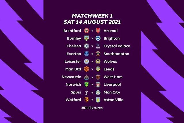 جدول مباريات الجولة الأولى من الدوري الانجليزي فى موسمه الجديد 2021/2022