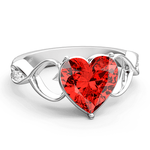 Personalized Heart Birthstone Promise Ring Silver