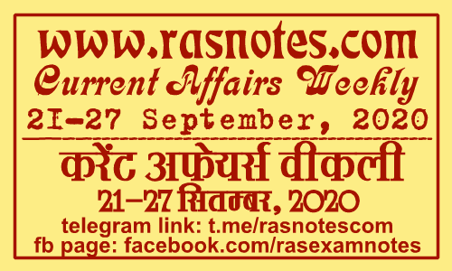 Current Affairs GK Weekly September 2020 (21-27 September) in hindi pdf