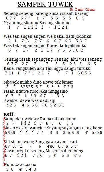 Not Angka Pianika Lagu Sampek Tuwek Denny Caknan