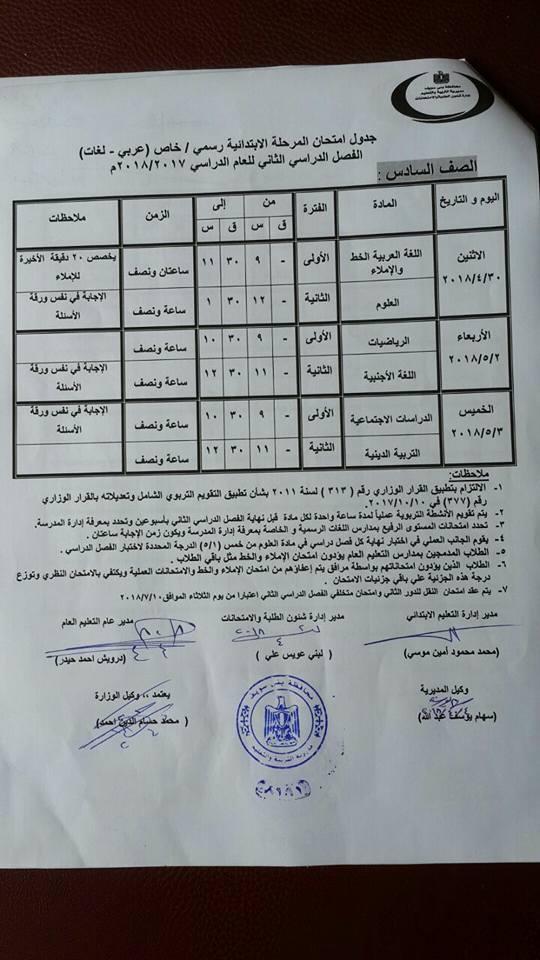 جدول امتحانات محافظة بني سويف 2018 آخر العام الصف السادس الأبتدائي