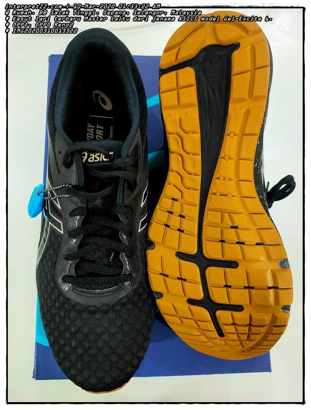 Pandangan atas dan tapak kasut lari terbaru Master iaitu dari jenama ASICS model Gel-Excite 6.