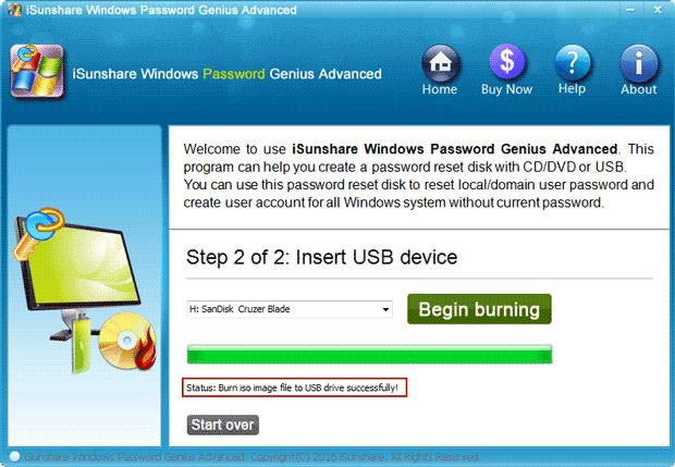 successfully burn Microsoft account password reset disk