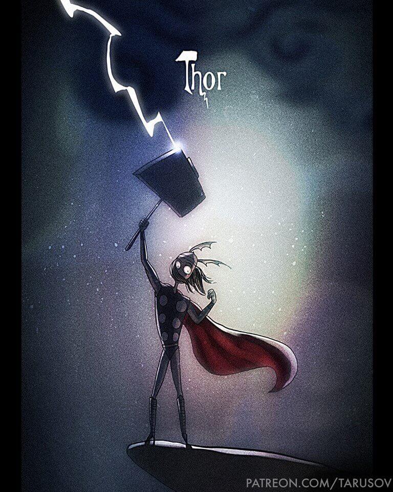 Thor Superhéroes Marvel y DC Comics al estilo Tim Burton