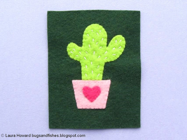 Felt Cactus Brooch Tutorial: embroider the cactus
