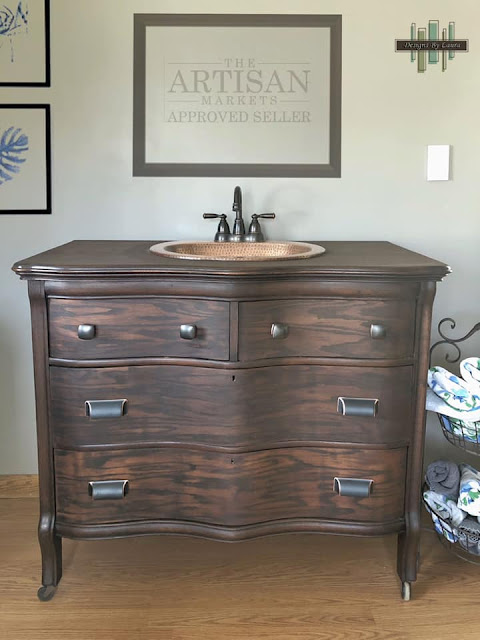wood stained dresser makeover