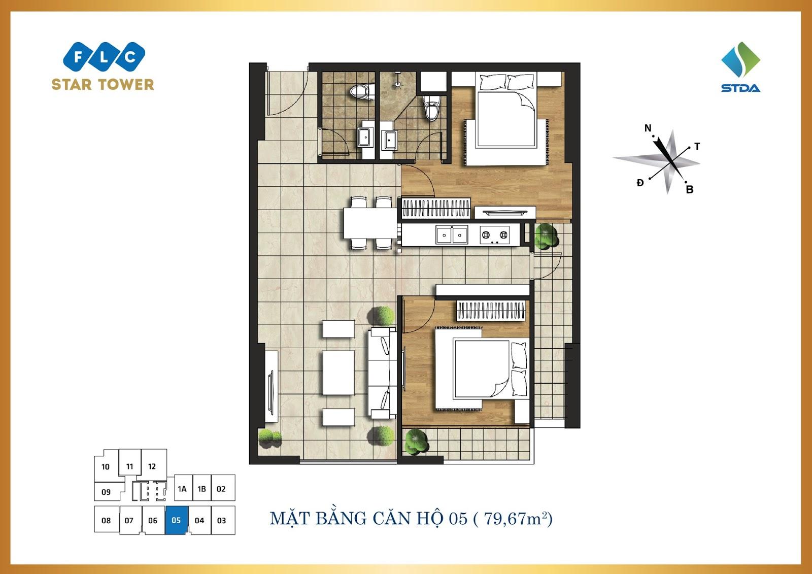 Thiết kế căn hộ số 5 - Chung cư FLC Star Tower