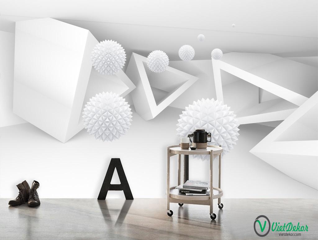 Tranh dán tường 3d quả cầu trắng trang trí đẹp