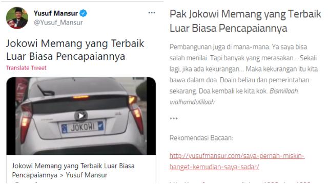 Yusuf Mansyur Bikin Tulisan Pujian pada Jokowi, Warganet: Gak Lama Lagi jadi Komisaris