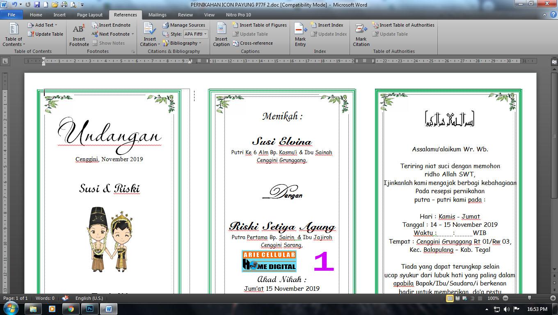 Undangan Pernikahan Microsoft word siap edit | ARIE CELLULAR