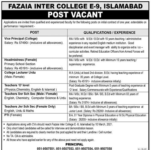 Fazaia Inter College Pakistan Air Force PAF Islamabad Jobs 2021 in Pakistan - Govt Teaching Jobs 2021