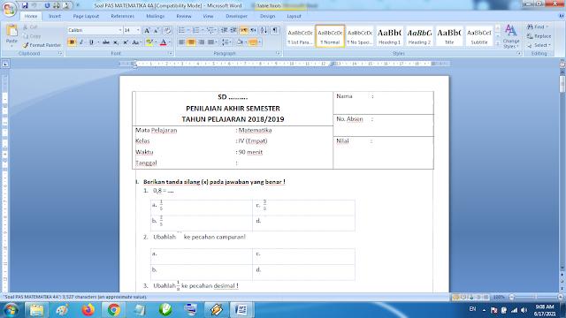 Soal Penilaian Akhir Semester Matematika Kelas 4A Kurikulum 2013 Revisi Terbaru