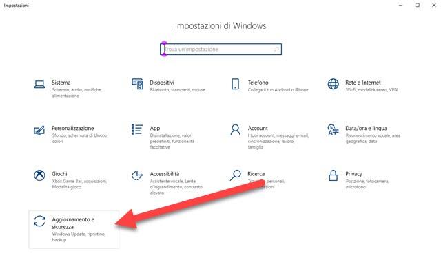 aggiornamento e sicurezza impostazioni di windows