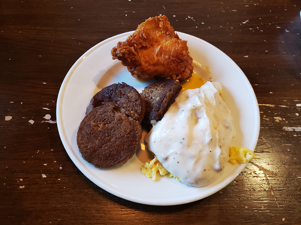 Scrambled eggs and gravy, sausage and fried chicken from Brickhouse Buffet in Bartlett, Tennessee