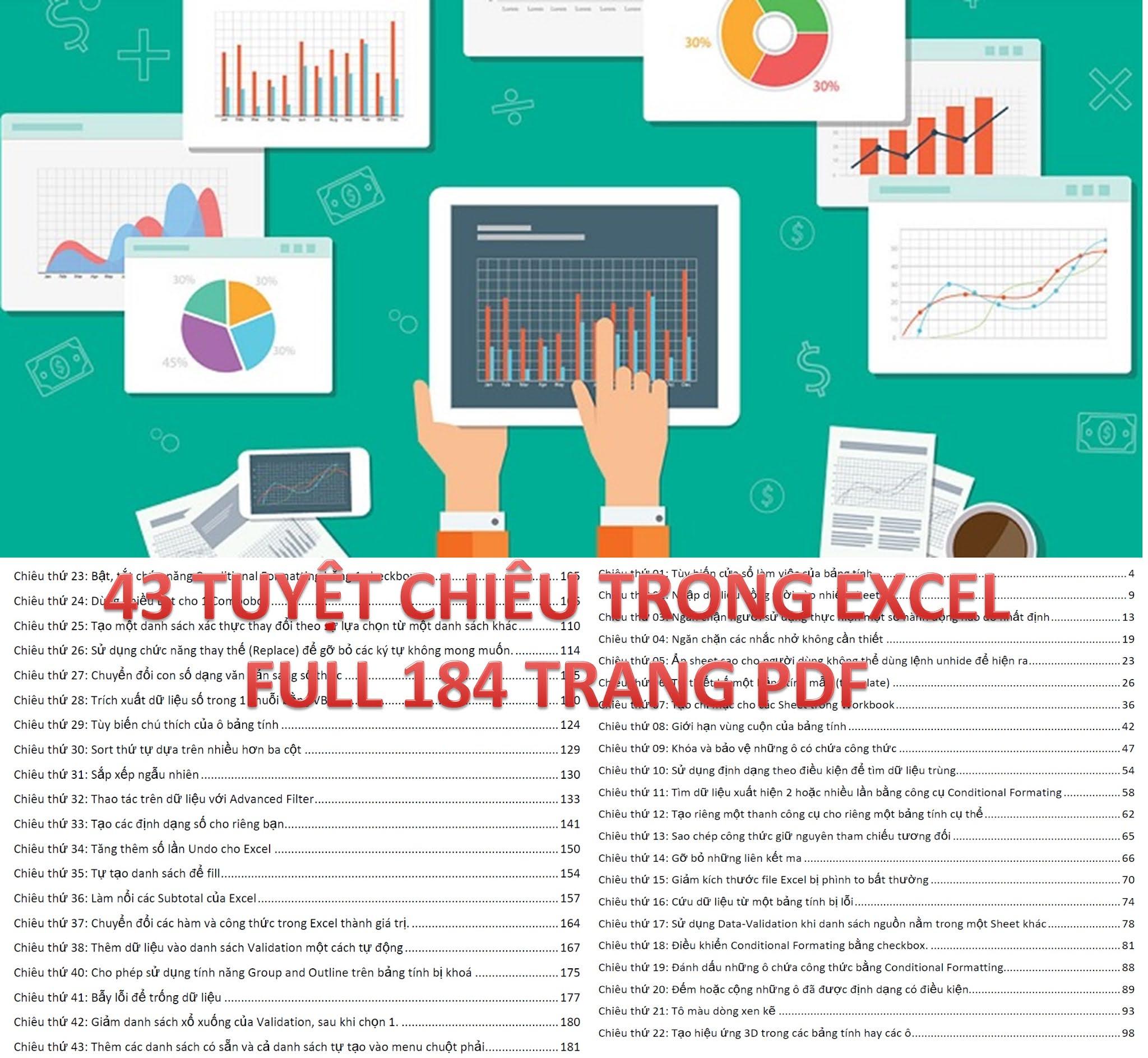 TẢI MIỄN PHÍ EBOOK 43 TUYỆT CHIÊU TRONG EXCEL 2021