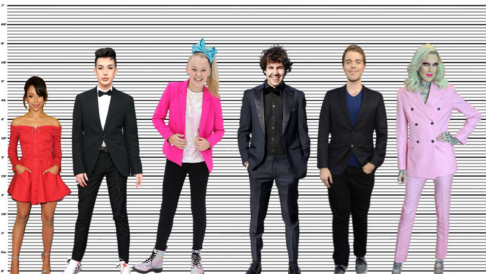 David Dobrik height comparison with Liza Koshy, James Charles, JoJo Siwa, Shane, and Jeffree Star
