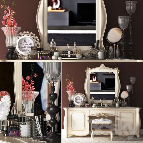 نماذج ثري دي لديكور غرفة النوم طاولة مزينة لبرنامج ثري دي ماكس
