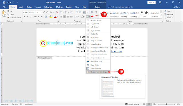 cara membuat kop surat di word hp android