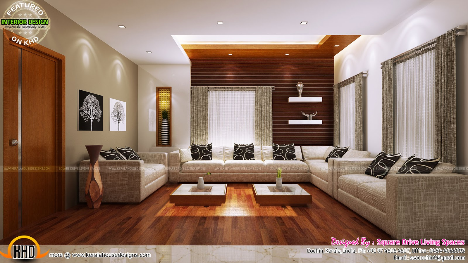 Excellent kerala interior design kerala home design and for Interior design for living room and bedroom