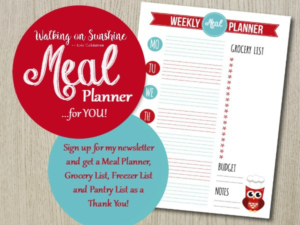 Weekly Menu Planner Printable from Walking on Sunshine Recipes.