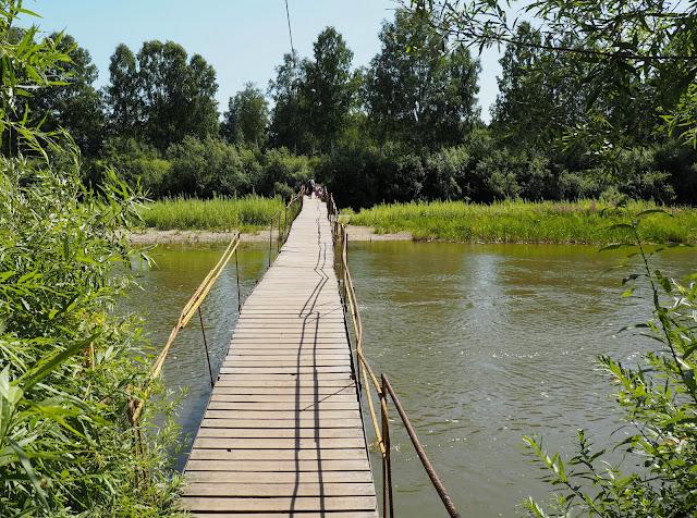 Пешеходный мост через Иню - о.п. Боровушка