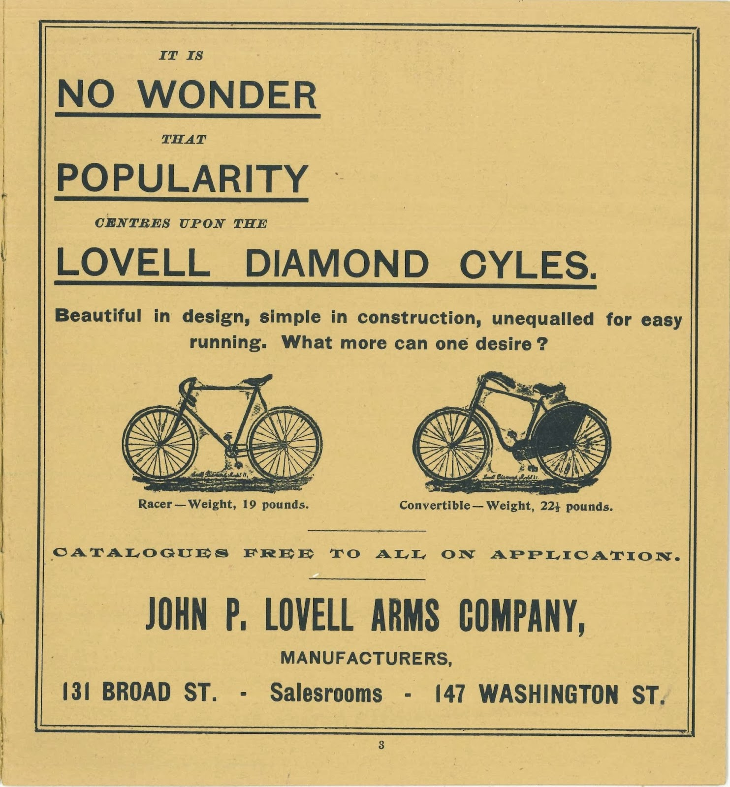A full-page advertisement for bicycles from the program.