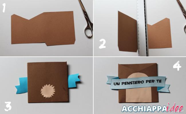 tutorial per realizzare una busta per un biglietto di auguri a forma di orso per la festa del papà