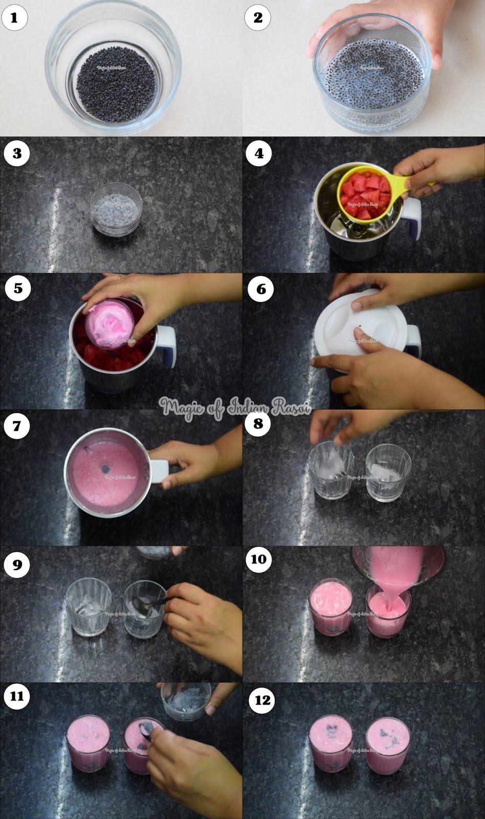 Watermelon & Strawberry Delight Drink Recipe - तरबूज और स्ट्रॉबेरी डिलाईट रेसिपी - Priya R - Magic of Indian Rasoi