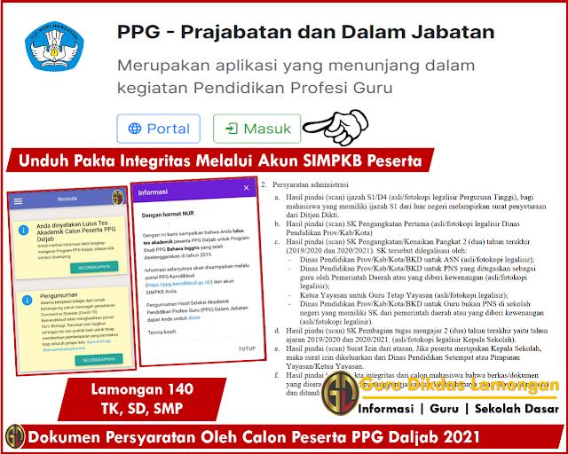 Dokumen Persyaratan Oleh Calon Peserta PPG Daljab 2021, Unduh Pakta Integritas Melalui Akun SIMPKB Peserta