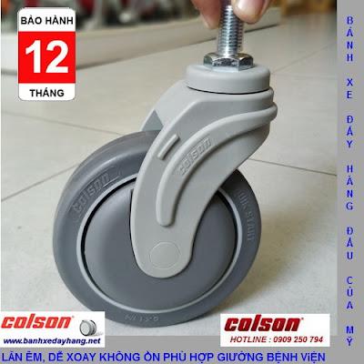Bánh xe cao su lắp cọc vít M12 x 25mm Colson 5 inch | STO-5854-448 banhxedaycolson.com