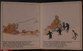 Two illustrated pages of children sledding and walking to penguins.