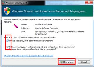 Allow Access widows firewall