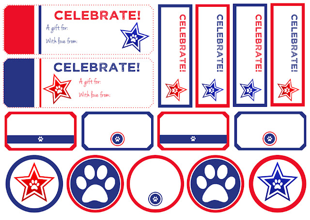 Red white and blue dog treat tags and labels with stars and paw prints