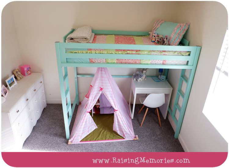 Teepee and desk under Loft Bed Girls Room