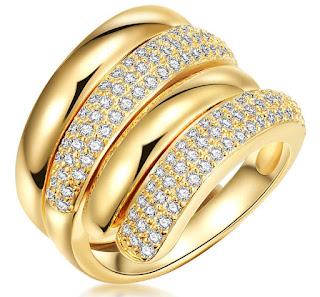 Highstreet Jewels - Дамски Пръстен със златно покритие и кристали