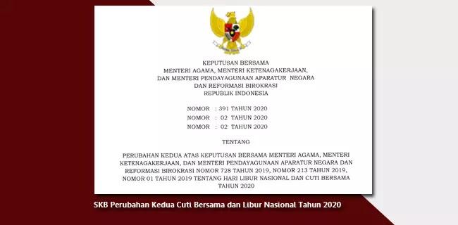 SKB Perubahan Kedua Cuti Bersama dan Libur Nasional Tahun 2020