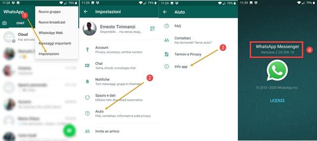 versione di whatsapp in uso nel cellulare