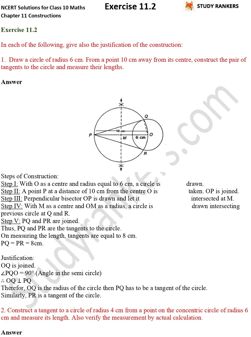 NCERT Solutions for Class 10 Maths Chapter 11 Constructions Exercise 11.2 Part 1