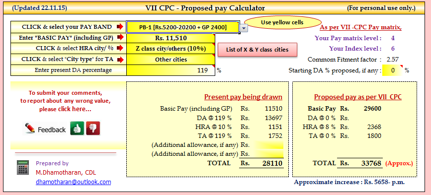 Excel Calculator For 7th Pay Commission