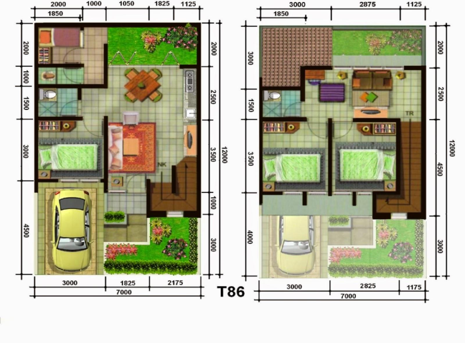 Denah Rumah Sederhana Dua Kamar 2020