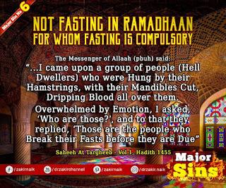 MAJOR SIN. 6.2. NOT FASTING IN RAMADAN : FOR WHOM FASTING IS COMPULSORY | Kabira Gunah