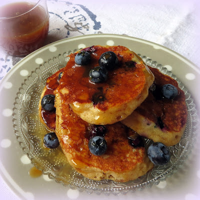 Blueberry Cornmeal Pancakes with a Maple Caramel Sauce