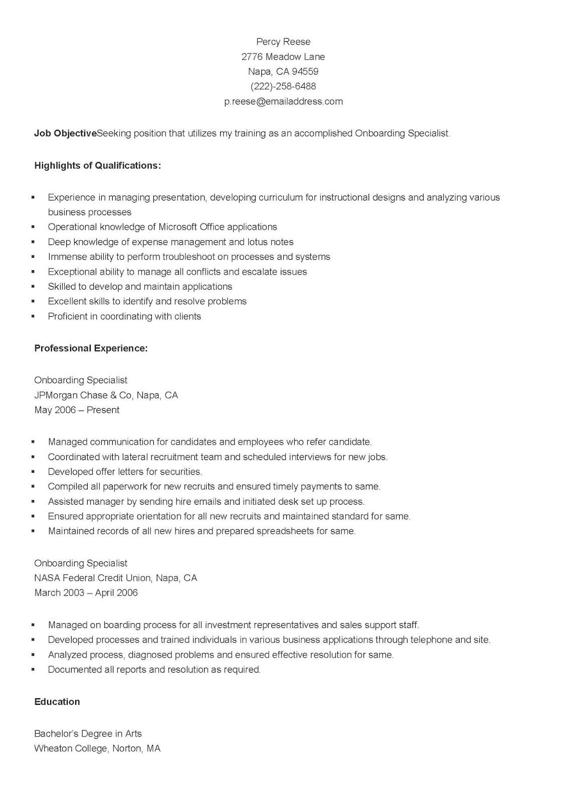 onboarding specialist job sample resume