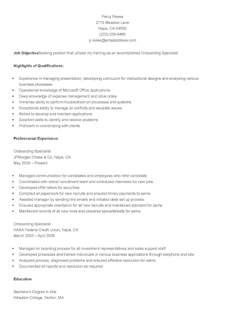 Onboarding Specialist Sample Resume Professional Onboarding