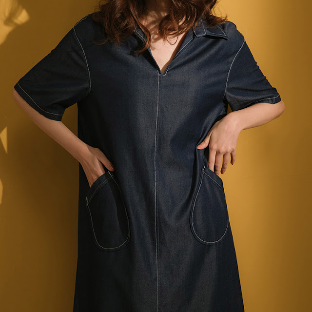 小眾生活壓線大口袋洋裝-單寧藍